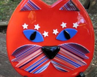 Rote geschmolzenem Glas Katze Wandhängen, rot, die alle amerikanischen Kitty Katze verschmolzen Glas Wandkunst - USA-Wand-Kunst, Katze Glasplatte verschmolzen Glasplatte