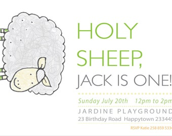 cheeky sheep NO.4 - farm invitation - kids invitation - boys invitation - printable invitation - Holy Sheep!