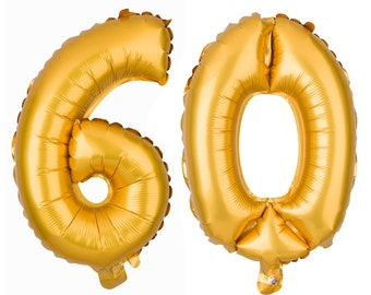 60 Number Balloons, 60th Birthday Party Balloons, 60 Balloon Numbers, 60 Party Supplies, 60th Birthday Decorations, Decor, 13 Inch Gold