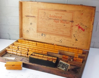 Rubber Stamp Set / Signage from an old Hardware Store / Original Vintage Wooden Box / 4 Sizes