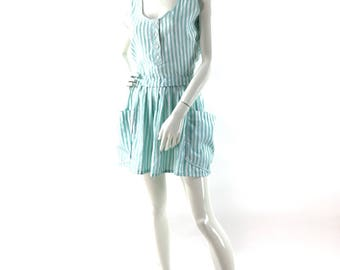 Vintage 1980's Betsey Barclay aqua green(turquoise)/white stripes.