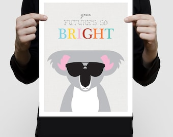 koala bear nursery art poster print, aussie animals, futures bight sunglasses, artwork for children, kids art baby boy or girl nursery decor