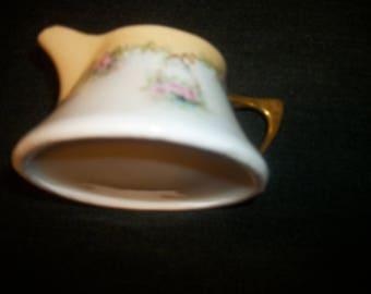 Early 1900s BAVARIAN EDWARDIAN STEAMPUNK Style Gilt Florals Creamer, Wide Bottom