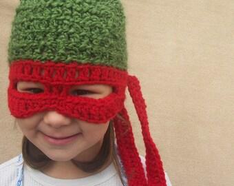 Teenage Mutant Ninja Turtle Hat, TMNT,  Children Costume Gift, Raphael, Red Ninja