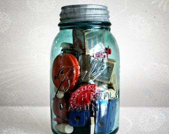 vintage blue mason jar filled with vintage toys, country decor, cottage chic, primitive kitchen, Ball Perfect Mason