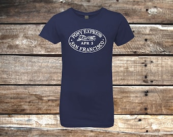Pony Express Youth Girls Tee, Navy Blue Horse Shirt, Equestrian Clothing, Riding Clothes, Vintage Stamp, English Western