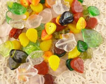 Fall Leaves Leaf Czech Glass Beads, Assortment, Mix (40+ beads - 30grams) - BM