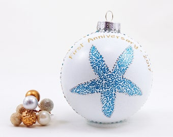 Anniversary Christmas ornament - Hand painted personalized glass ball - Sea Star - Starfish