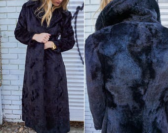 Vintage 80s Trench Coat, Long Black Winter Coat