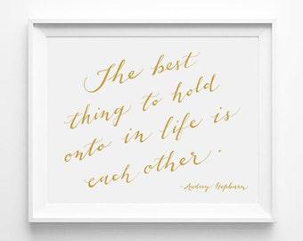 Christmas Gift for Mom, Audrey Hepburn Wall Art, Audrey Hepburn Quote, CalligraphyPrint, Family Room Decor, Wall Decor, Housewarming Gift