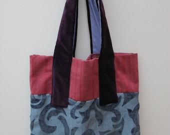 Canvas Tote Bag, Purple Velvet, Pink, Devore, Velvet, Shopping.
