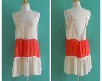 vintage baby doll open back dress // sheer slip dress ~ small medium