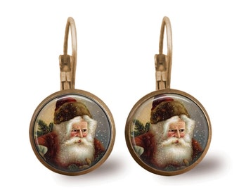 Christmas Earrings Christmas Jewelry Holiday Jewelry Tile Earrings Vintage Santa Earrings Holiday Earrings Beaded Jewelry Brass Jewelry