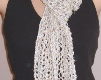 SALE Hand Knit Scarf Cotton Eyelash Metallic CREAM
