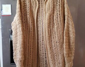 Crochet Long Sweater Coat