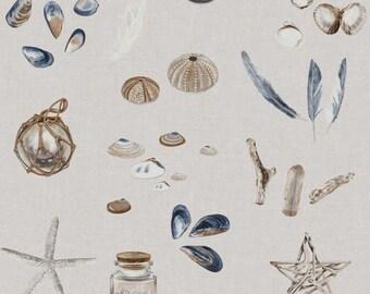 Beach OCEAN TREASURES Decor Upholstery Cotton Fabric Material 140cm wide ECRU