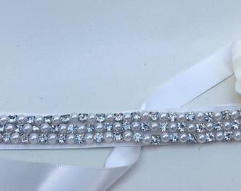 Wedding dress belt, bridal belt, sash, wedding dress belt, rhinestone appliqué, Ivory ribbon, wedding accessories,  bridal accessories