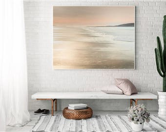 Rose Gold Beach Canvas, Rose gold Home Decor, Canvas Large, rose, gold, large Abstract Decor, Abstract, Canvas large, Wall Art Livingroom