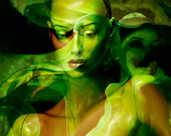 Fashion Photography Art Green Female Mannequin Collage GREEN WINGS