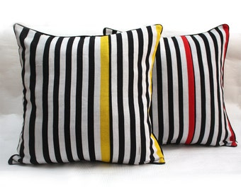 Striped Cushion, Throw Pillow, Black & white pillow, Zebra Cushion, Woven African Fabric, Aso-oke, Pop Art cushion, Minimalist decor