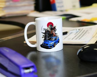 2018 Subaru WRX STI Drinking Mug with Shogun Samurai Osaka Castle Background, Covers all Subaru STI colors, best gift for car enthusiast