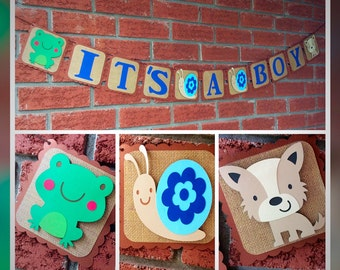It's a Boy banner - Frogs Snails and Puppy Dog Tails banner - It's a boy banner - Frogs - snails - puppy dog tails - baby shower - boy