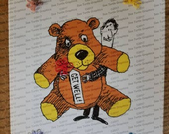 Tatted Notecards - Get Well Bear