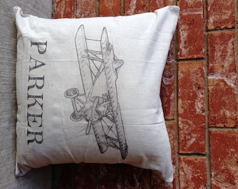 Airplane pillow etsy personalized vintage airplane throw pillow name pillow baby shower gift vintage airplane decor negle Gallery