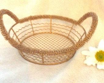 Vintage brass wire basket.