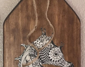Wood stained Sea Horse Paddle