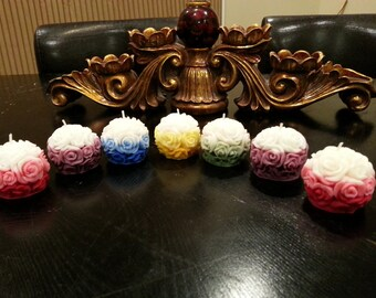 HANDMADE Small Carved Rose Ball/Round Candles