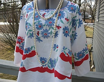 Blue and red floral oversize one size fits most upcycled vintage linen 1X-2X plus size loose fit eco boho top by Lily Whitepad