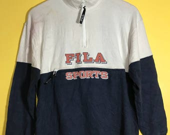 "Vintage 90s FILA Sports Centered Zipped Medium Size Pullover 20"" x 25"""