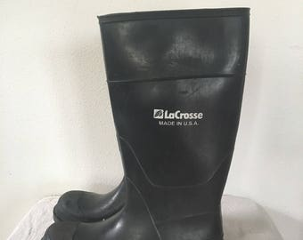 Vintage LaCrosse  Boots, Unisex Rubber Muckers,  Vintage Tall Rain Boots or Garden Boots, Women or Men Boots