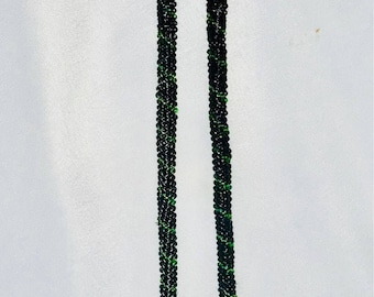 Black and green seed bead necklace