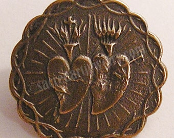 Twin Hearts   Button   Medal   Sterling Silver   Bronze   Antique   Vintage   Catholic   Jewelry   Bracelet   Finding #1189