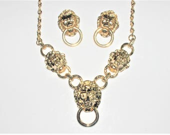 Kenneth Lane Lion Head Set - Necklace and Earrings - S1689