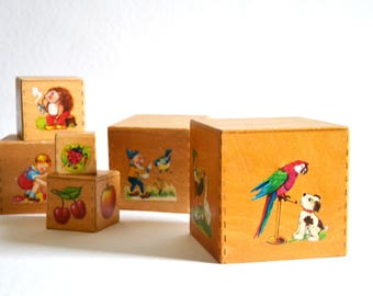 Building blocks / 1960s / toys / children / dwarfs / animals / sixties / nesting blocks / wood / nostalgic / mid century / modern kitchen