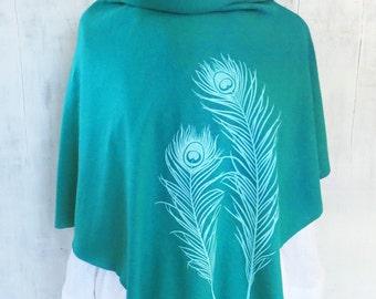 Womens Poncho - Hemp Organic Cotton Jersey Poncho - Womens Shawl - Emerald Green Poncho - Ladies Screen Printed Poncho - Peacock Feathers
