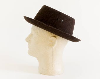 Vintage 1950s 60s Mens Size Medium Hat, Mad Caps Dark Brown Virgin Wool Hat VGC, Retro Mid Century Dressy Casual