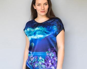 Silk T-shirt - Silk Top - Satin Top - Satin T-shirt - Luxury T-shirt - Silk Blouse - Silk Tee - Satin Blouse - Silk Print Top - Floral Top