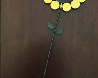 """Up-Cycled Metal: Sunflower 4.5"""" black eyed Susan painted Garden flower stake decoration by GmaJanisew"""