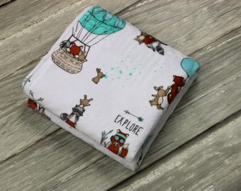 Let's Explore Woodland Minky Baby Blanket, Soft Minky Baby Blanket