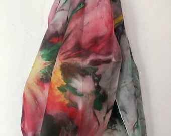 Pure silk scarf hand painted