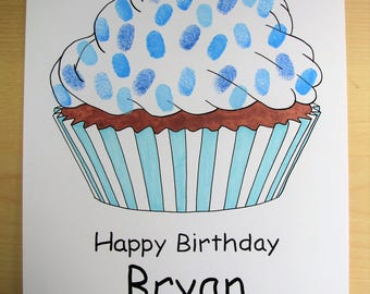 Fringerprints guest book - Cupcake - birthday - baptism - baby shower - Cupcake drawing - yummy - thumbprints