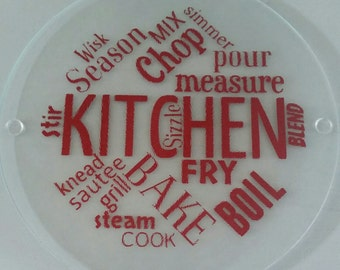 Round glass cutting board, trivet Kitchen sayings cutting board