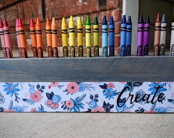 Crayon Holder (Floral) Crayons- Pencils - Storage- Organization - Wood