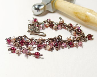 Garnet, Pearl and Crystal Beaded Charm Bracelet, Romantic Pink Jewellery, Copper Dangle Bracelet