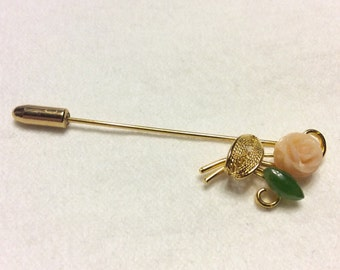 1960's salmon coral and jade hat pin stick pin brooch.