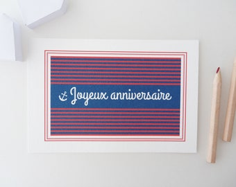 "PRICE MINI card ""Happy birthday"" with blue and red stripes"